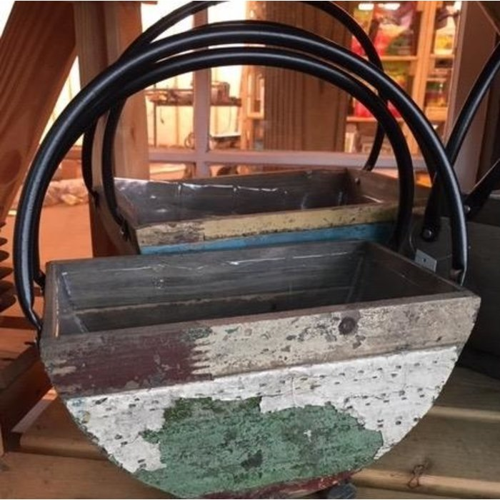 Pot Semi-Circle Flower Basket w/2 Hndls Lrg 12x8x15 Reclaimed Wood