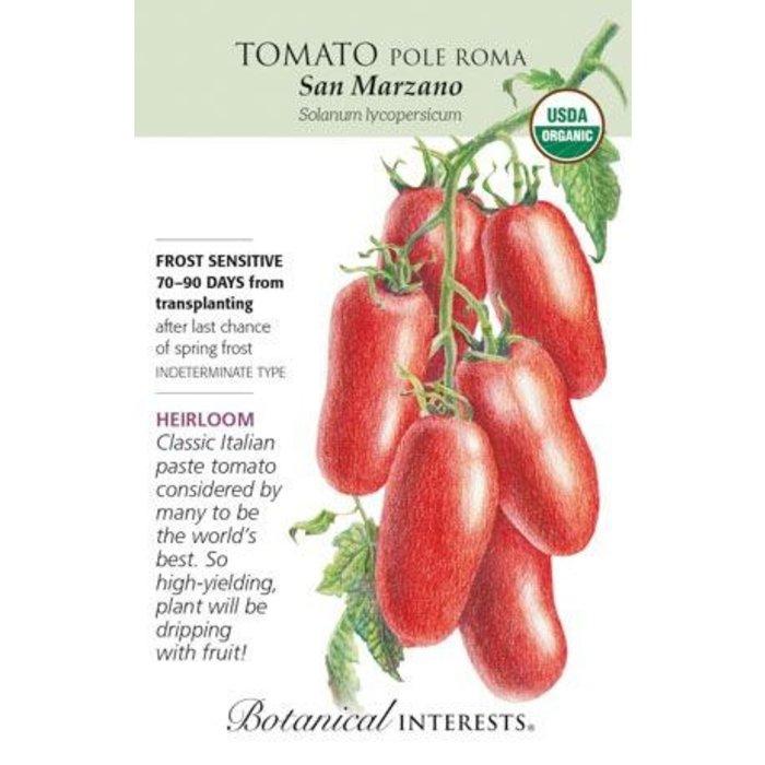Seed Tomato Pole San Marzano Organic Heirloom - Lycopersicon lycopersicum