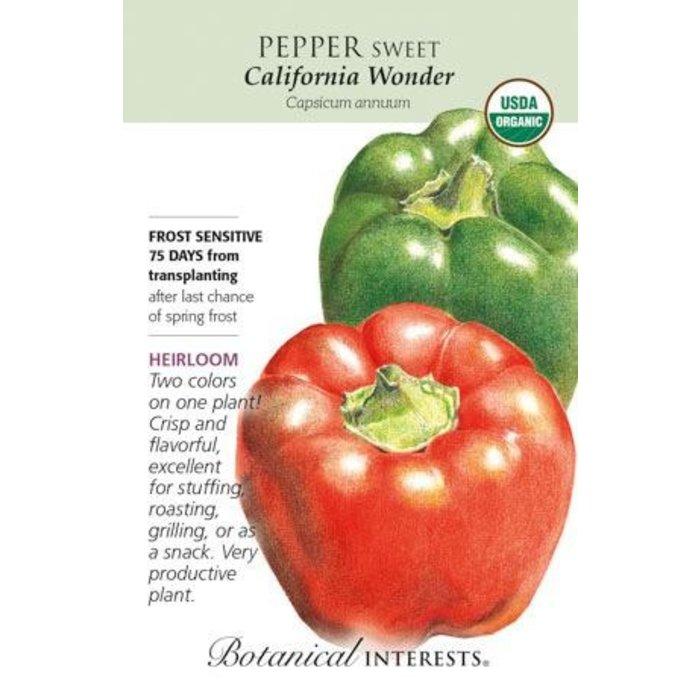 Seed Pepper Sweet California Wonder Red/Green Organic Heirloom - Capsicum anuum
