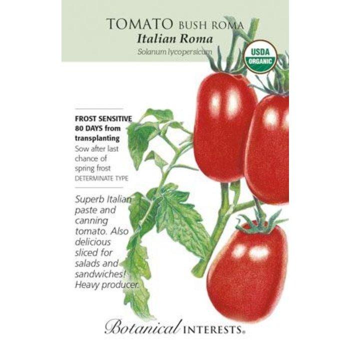 Seed Tomato Bush Italian Roma Organic - Solanum lycopersicum