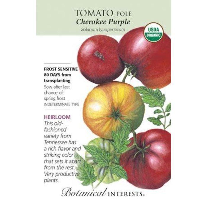 Seed Tomato Pole Cherokee Purple Organic Heirloom - Lycopersicon lycopersicum