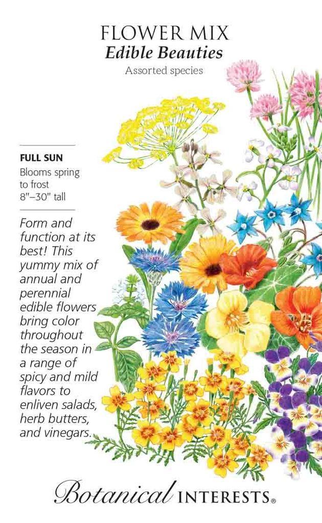Seed Flower Mix Edible Beauties - assorted  Lrg Pkt