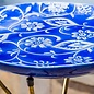 Birdbath Top w/Stand Floral Blue/White Food Grade Ceramic 16x23