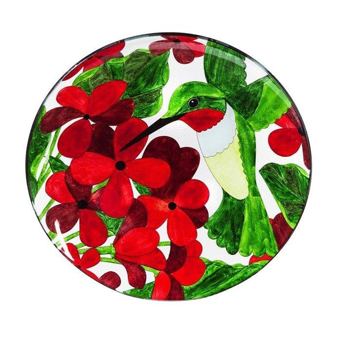 Birdbath Hummingbird Top w/Stand  Food Grade Glass 16x25