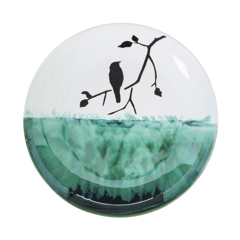 """Birdbath Top/Dish Bird on a Branch Food Grade Ceramic 16"""""""