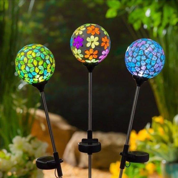 """Garden Stake Mosaic Globe Solar Asst 22"""""""