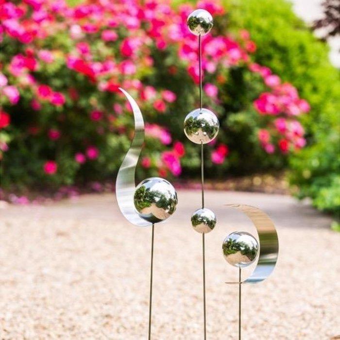 "Garden Stake Globe/Curve Stainless Steel Asst 47""h"