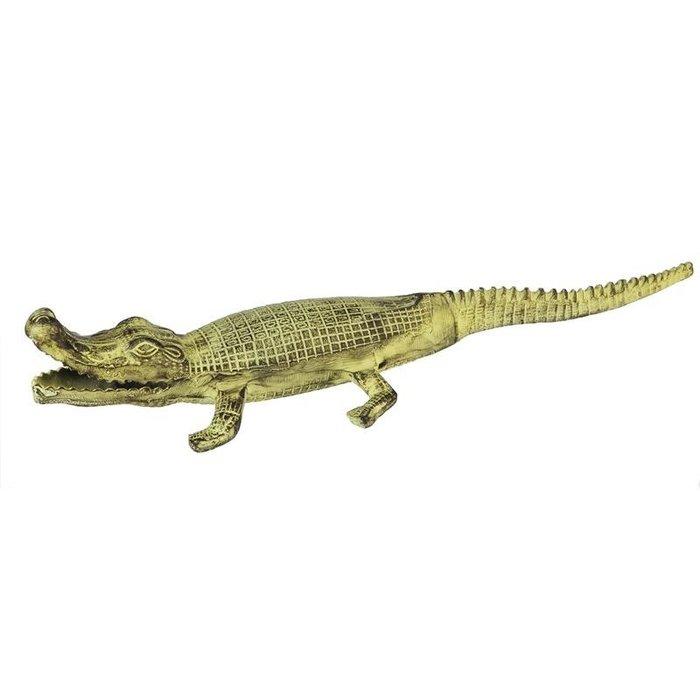 Statuary Crocodile 24x6x4 Verdigris Metal