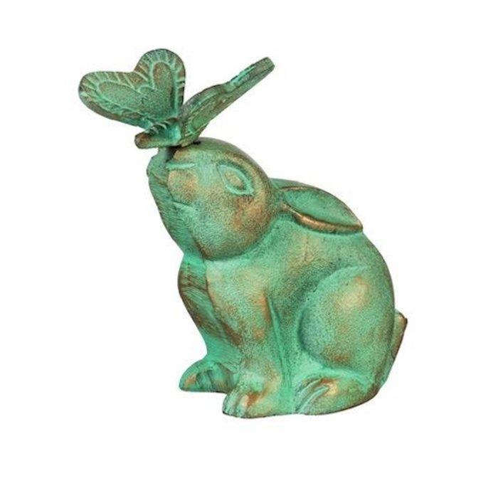 "Statuary Rabbit/Bunny w/Butterfly 7"" Verdigris Metal"