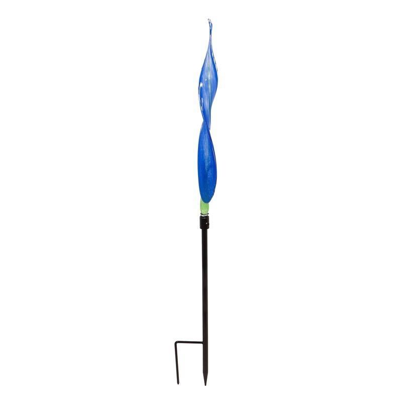 "Garden Stake Art Glass Reed Indigo 42""H"