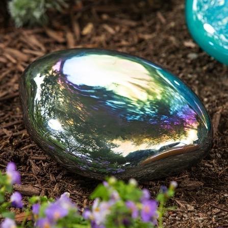 Garden Stone Art Glass Rainbow Hematite