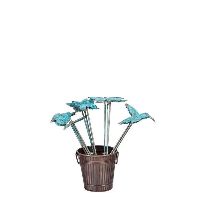 """Plant Pick Bird/Btrfly/Drgfly/Hbird Blue Patina Metal 14""""H Asst"""