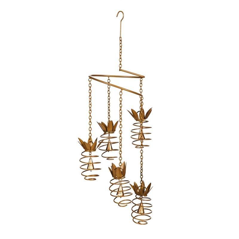 Hanging Mobile Spiral Pineapple w/Bell Metal