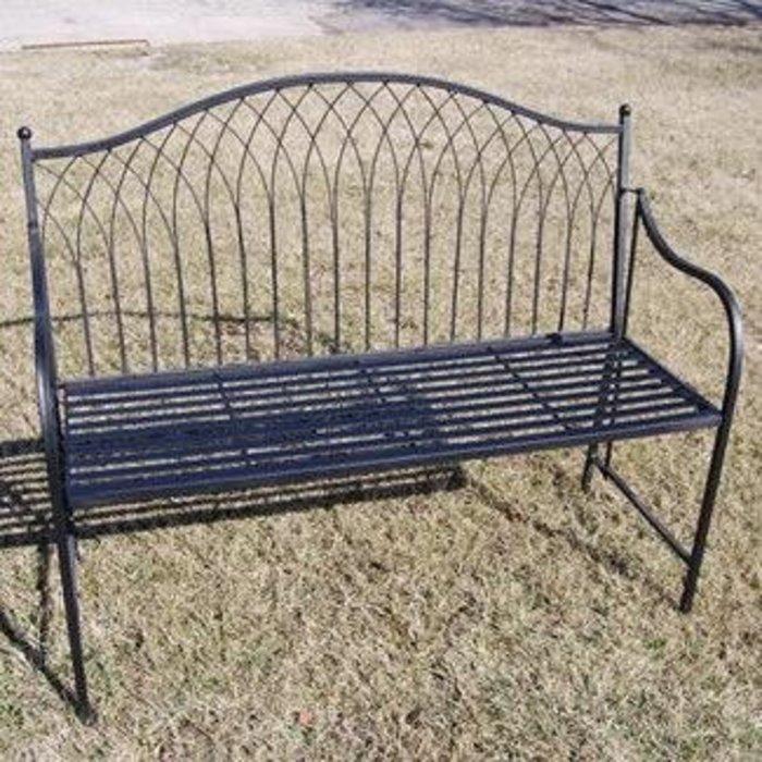 Bench w/Multi-Arch Design Back 44x19x37 Metal Black