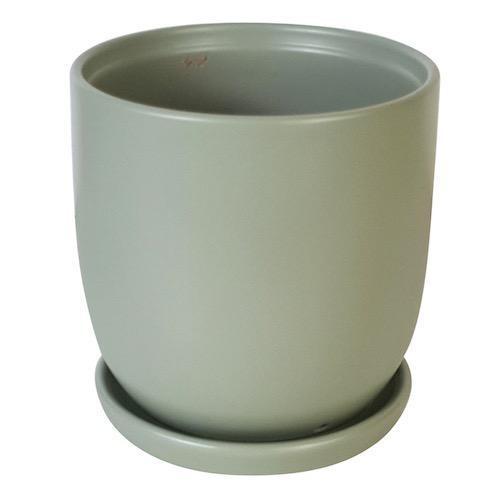 Pot Chatham Egg w/att Saucer Med 7x6 Matte Asst