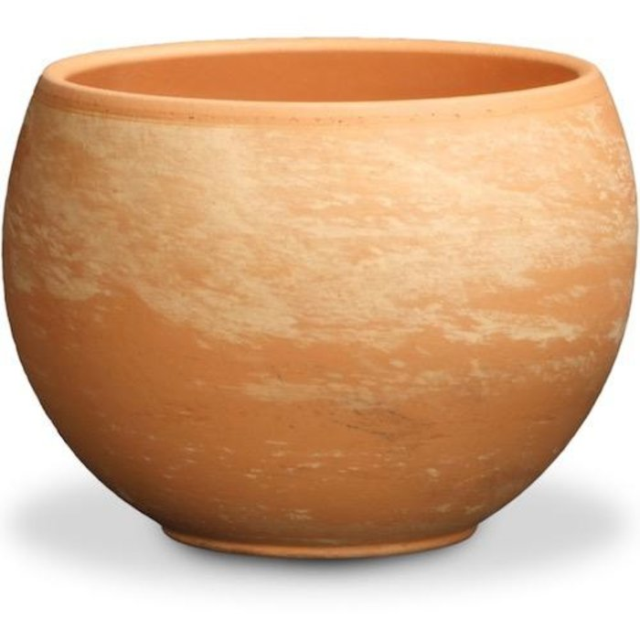 "Pot Luna Sphere /Bowl 5.25"" Light Marble Terracotta"