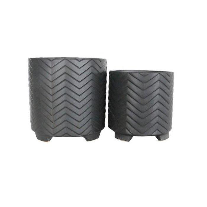 Pot Chevron Footed/Feet Sml 8x6 Black