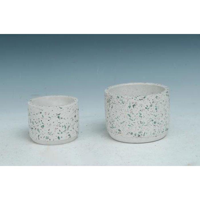 Pot Cylinder White Mosaic Lrg 5x4 Cement