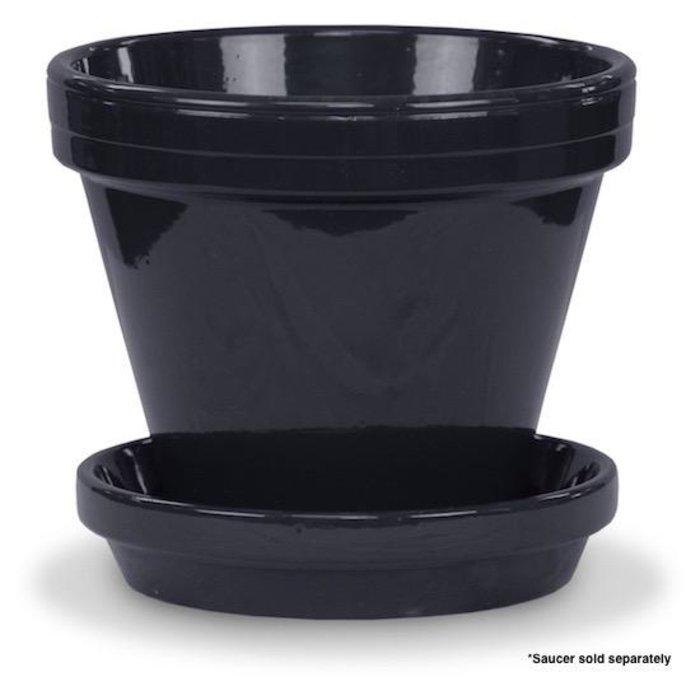 """Pot 6"""" Glazed Standard Black"""