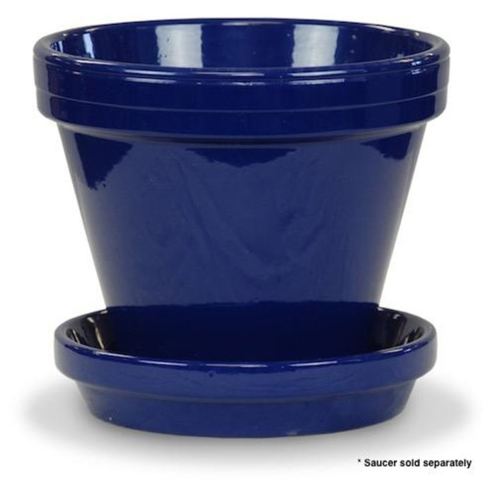 "Pot 6"" Glazed Standard Cobalt Blue"