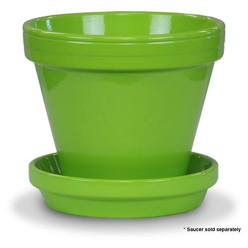 "Pot 4"" Glazed Standard Brt Green"