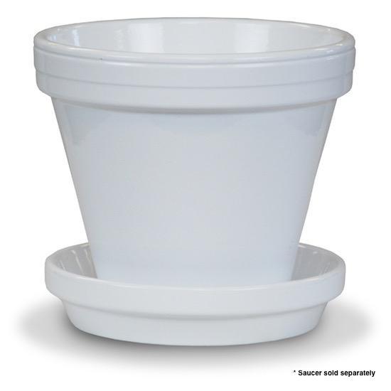 """Pot 6"""" Glazed Standard White"""