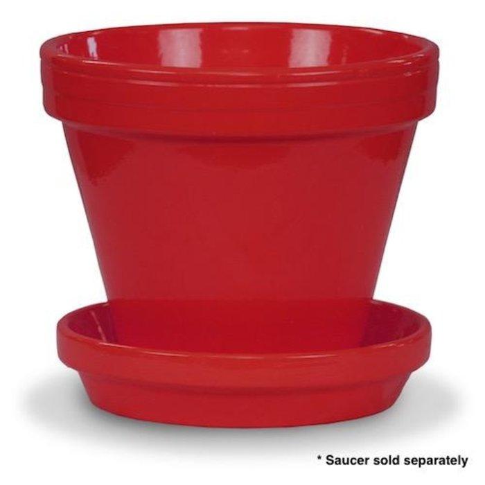 "Pot 4"" Glazed Standard Red"