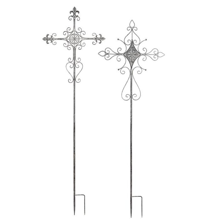"Garden Stake Distressed Cross Metal White Asst 65""H"