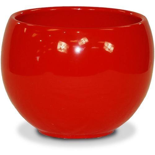 """Pot Glazed Luna Sphere Bowl 5.5"""" Red"""