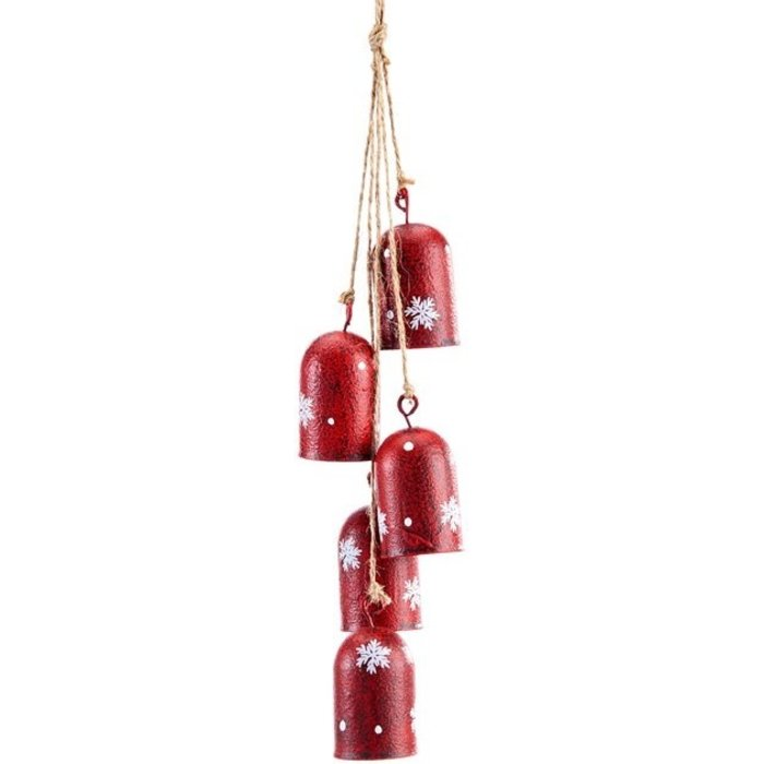 Christmas Decor Hanging Bell/Chime Snowflake 3x1x14 Red