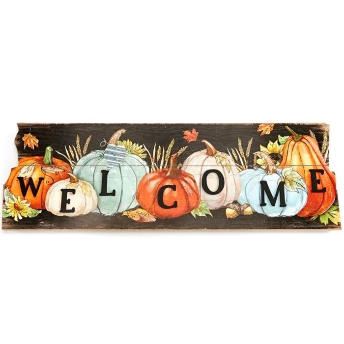 Fall Decor Wall Plaque / Sign Welcome Pumpkins 31x10 Wood (MDF)
