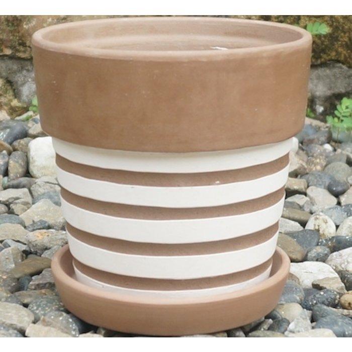 Pot Wide Rim Taper w/Saucer Graphic Assortment 5x5 Antique Terracotta