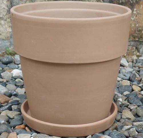 Pot Wide Rim Taper w/Saucer Sml 5x5 Antique Terracotta