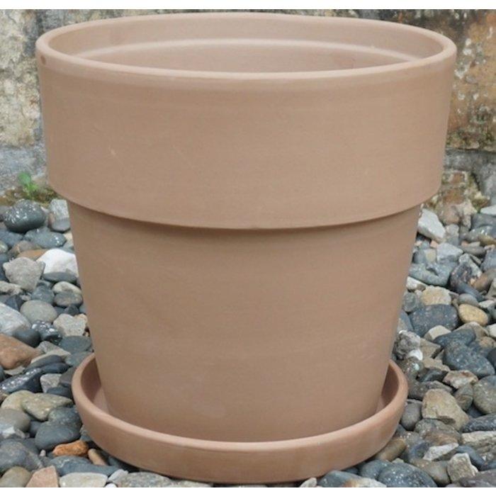 Pot Wide Rim Taper w/Saucer Lrg 8x7.75 Antique Terracotta