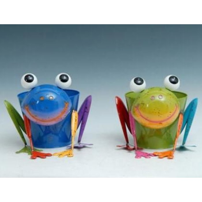 "Pot Frog Standing Planter Metal Multi-Color (pot 8x3) 11""H"