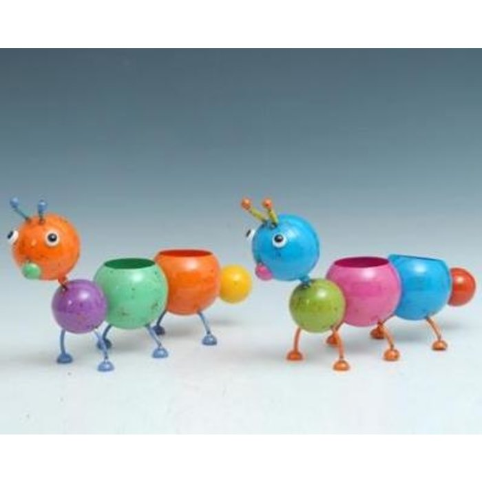 Pot Caterpillar/Catepillar Planter Standing w/2Pots Metal Multi-Color (pot 3x4) 18x6x11
