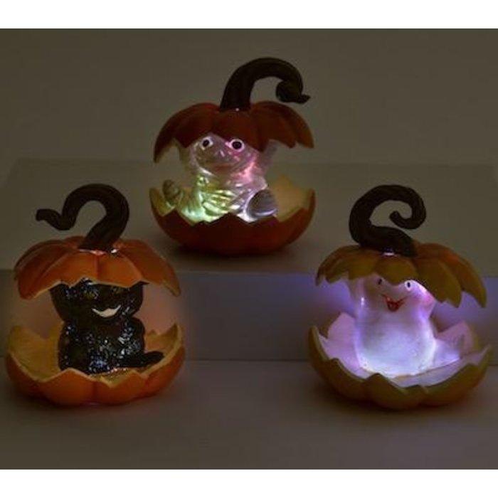 Halloween Statuary/Figurine Pumpkin Light-up Ghost/Cat/Mummy 3x3x4 Asst