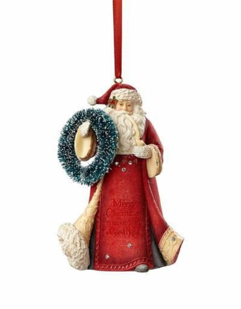 Enesco HRTCH Santa with Wreath Ornament