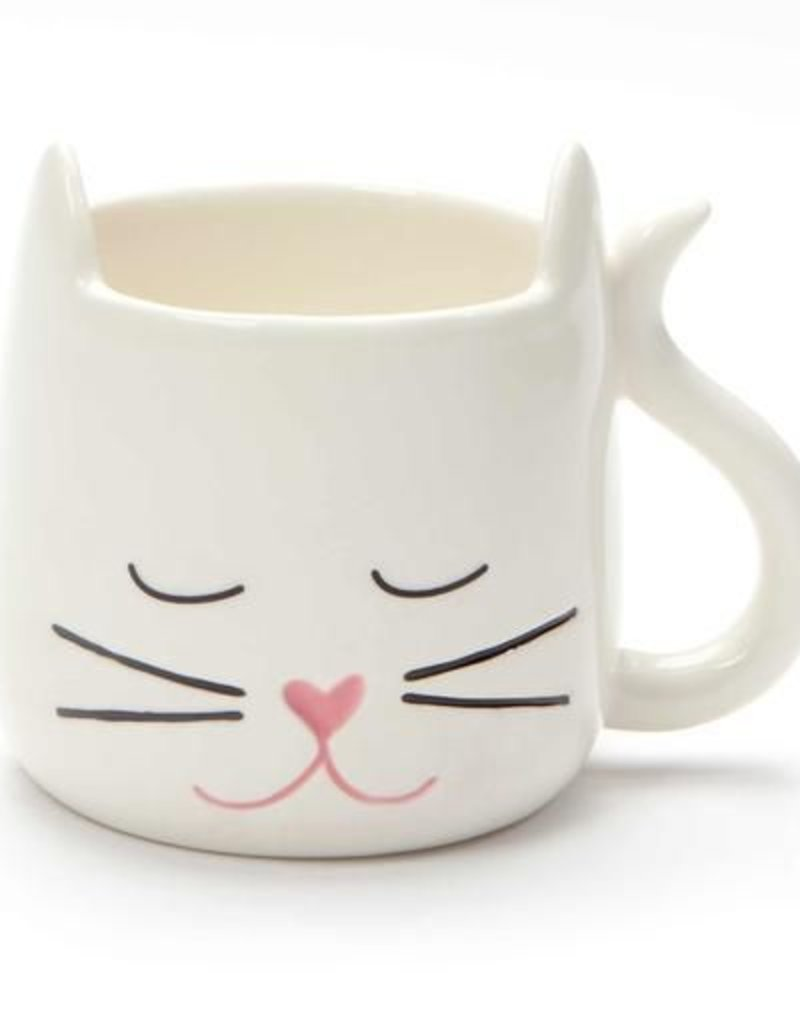 Enesco ONIM Mug - White Sculpted Cat