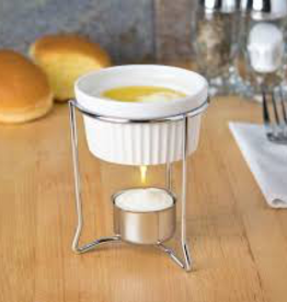 Browne Butter Warmer, 3oz Chrome Plated w/Stoneware Pot