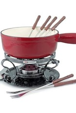 Swissmar Lugano Cherry Red Cheese Fondue 9pc set Cast Iron