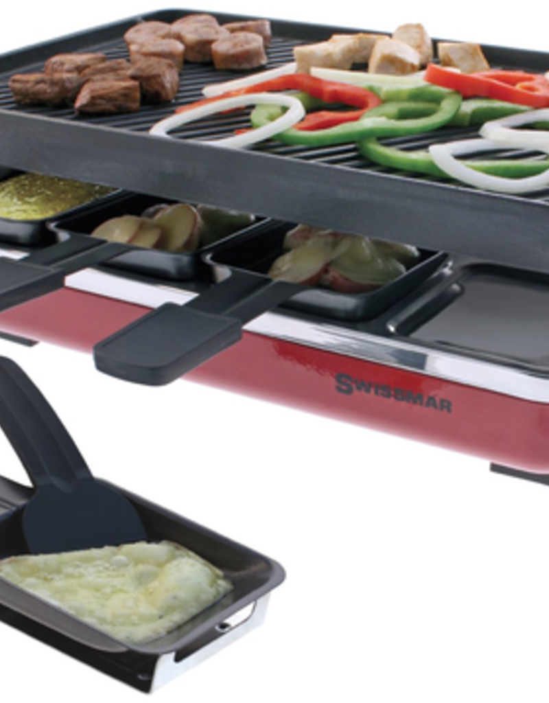 Swissmar Classic 8-Person Raclette w/cast iron grill plate - Red, 1200W