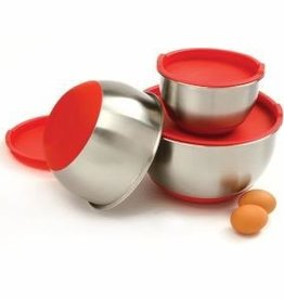 Norpro Stainless Steel Grip Bowls w/Lids, Red Set of 3