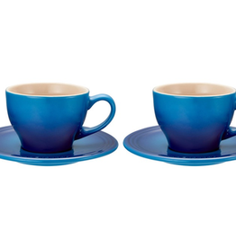 Le Creuset Cappuccino Cups & Saucers Classic Set of 2, Blueberry