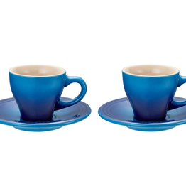Le Creuset Espresso Cups & Saucers Classic Set of 2, Blueberry