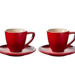 Le Creuset Espresso Cups & Saucers Minimalist Set of 2, Cerise