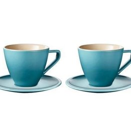 Le Creuset Cappuccino Cups & Saucers Minimalist Set of 2, Caribbean