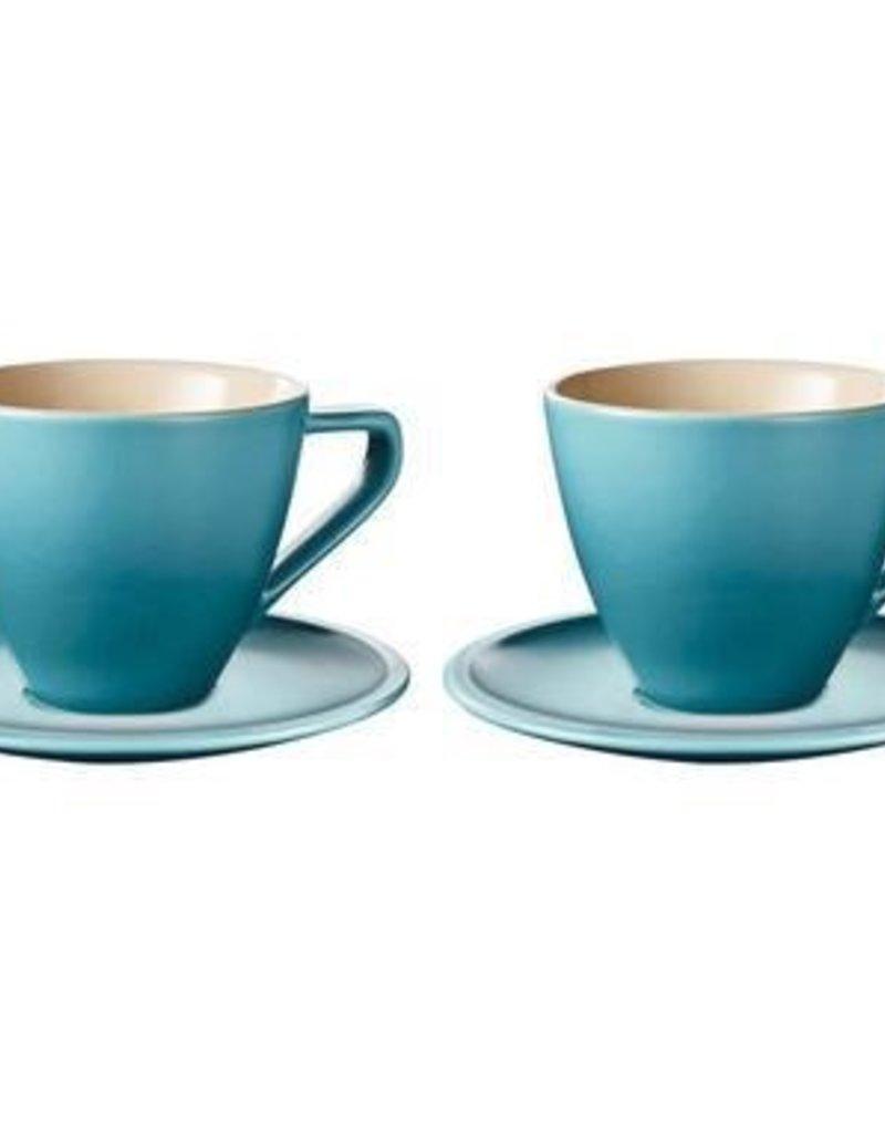 Le Creuset Cappuccino Cups & Saucers Minimalist Set of 2, Caribbean