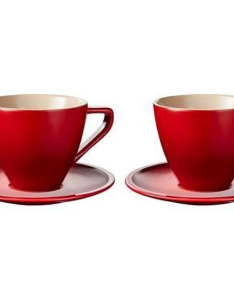 Le Creuset Cappuccino Cups & Saucers Minimalist Set of 2, Cerise