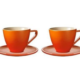 Le Creuset Cappuccino Cups & Saucers Minimalist Set of 2, Flame